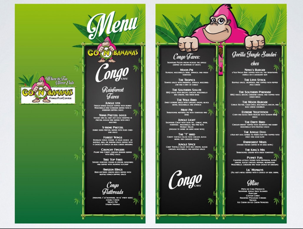 Go 'n Bananas family entertainment center branding and marketing design: café menu