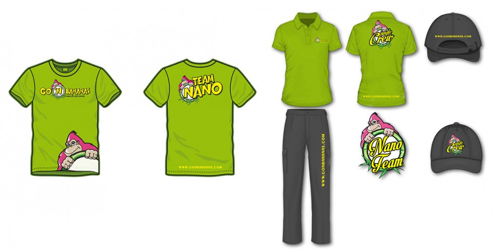 Go 'n Bananas family entertainment center branding and marketing design: uniform design