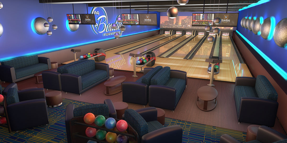Innovative bowling environment product interior design for Abanos furniture industries decoration llc