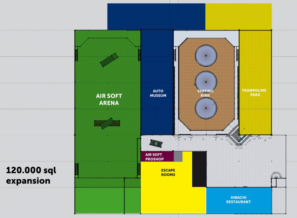 Xtreme Action Park roller skating rink The Arena floor plan layout masterplan