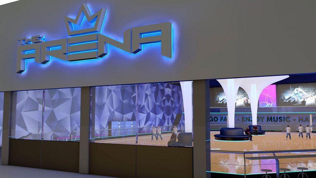 Xtreme Action Park roller skating rink interior design and signage 3D rendering