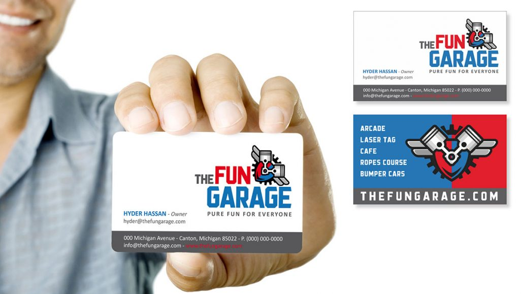 fun garage family entertainment center branding marketing design business card