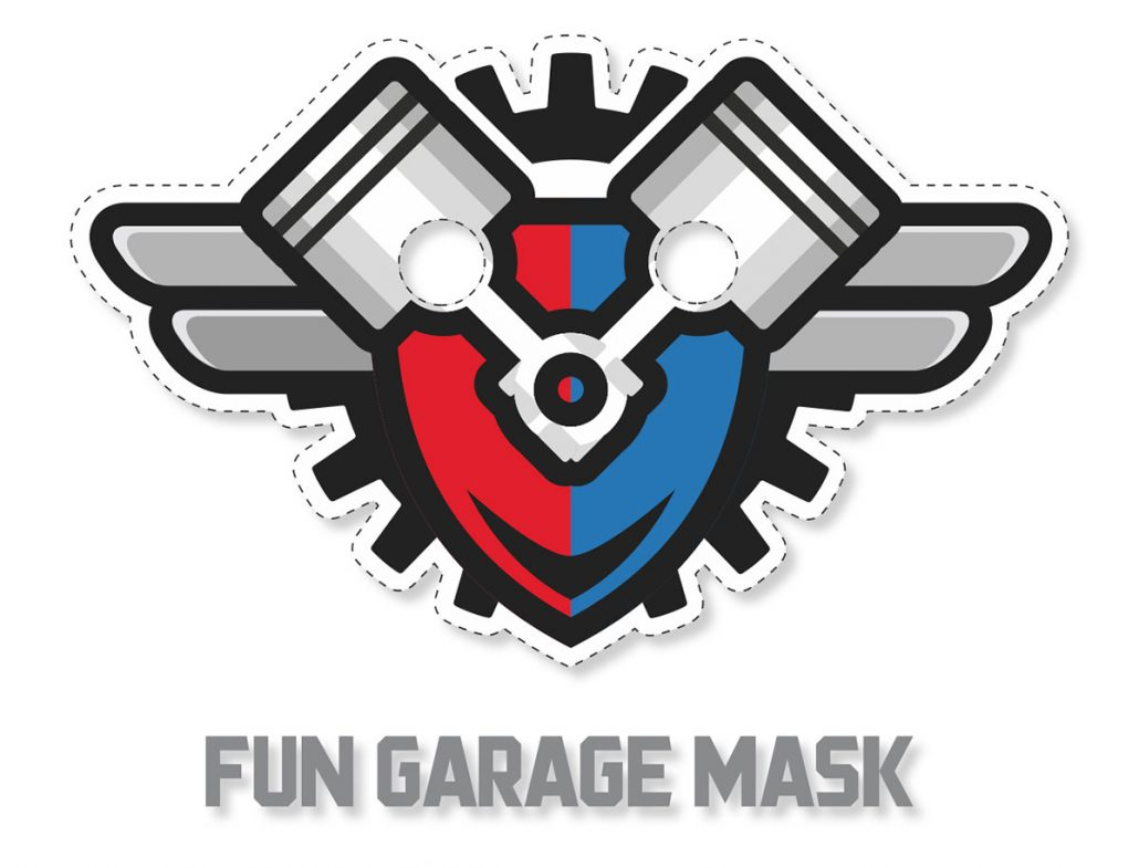 fun garage family entertainment center logo mask design
