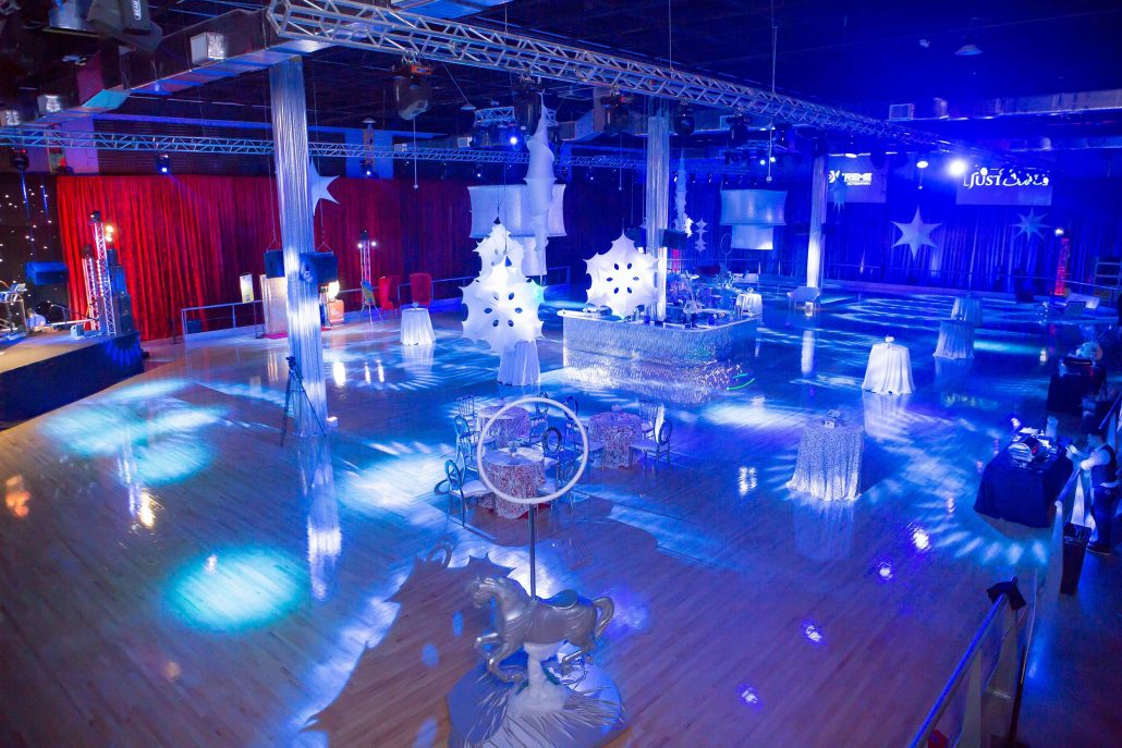 Xtreme Action Park roller skating rink hosting a party event with a winter wonderland theme