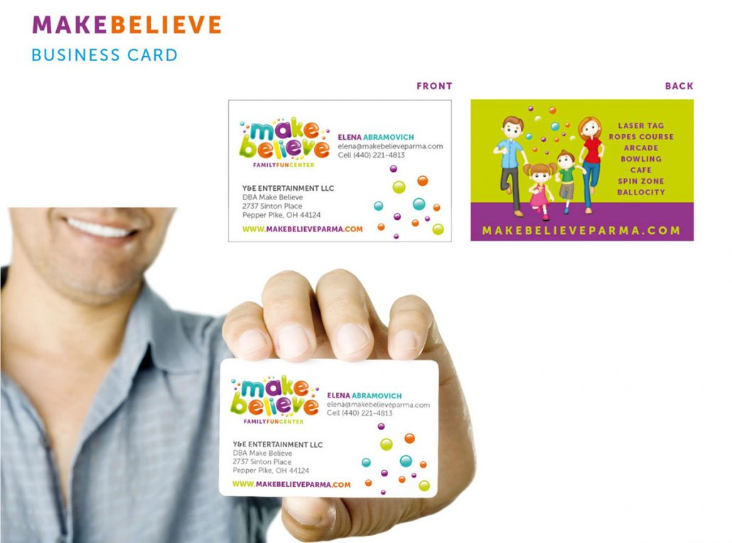 make believe family fun center branding and marketing design: business card
