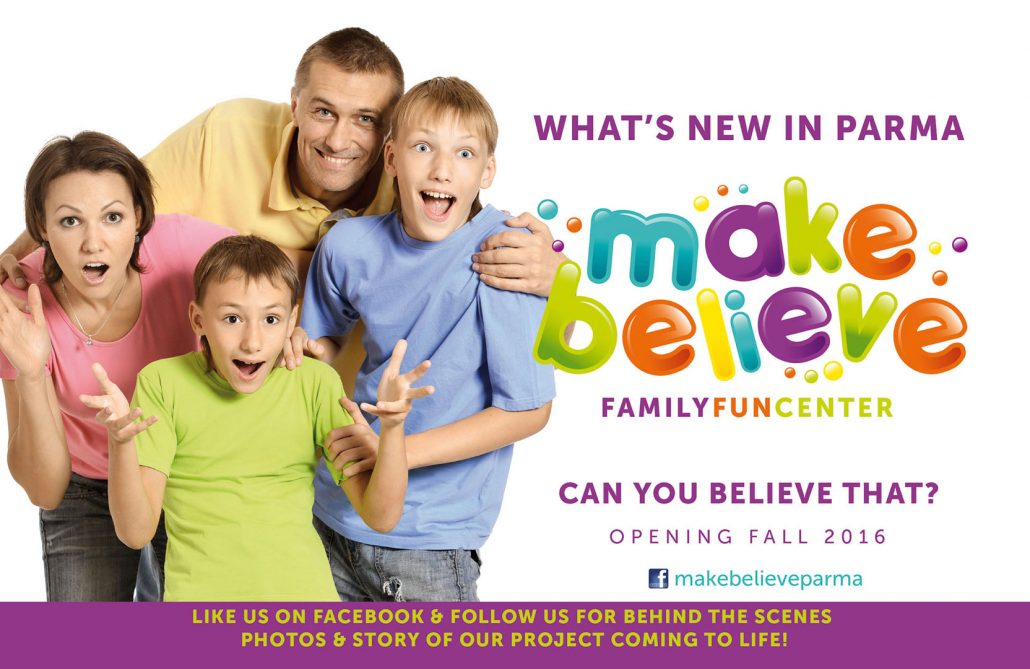 Make Believe family fun center branding and printed marketing materials