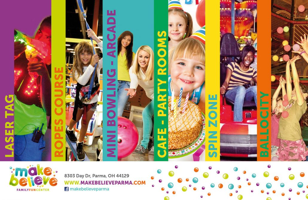make believe family fun center branding and website design