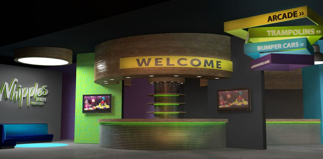 whipples family entertainment center entrance interior design and signage
