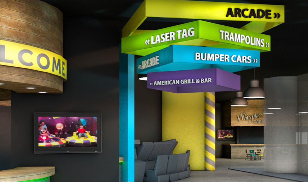 whipples family entertainment center signage design branding interior design