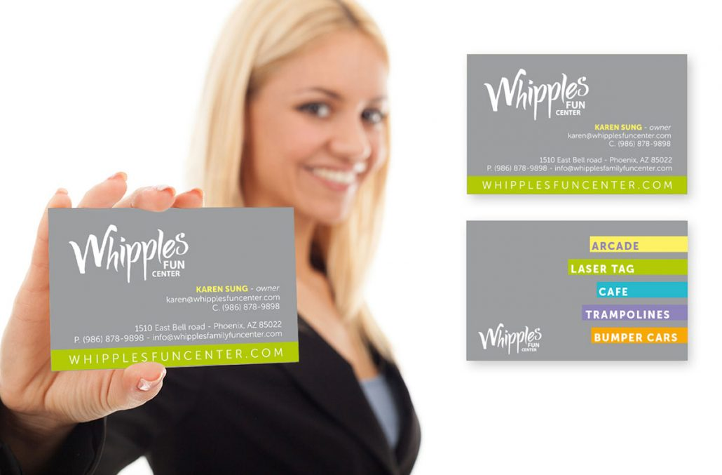whipples family entertainment center branding marketing materials design business card