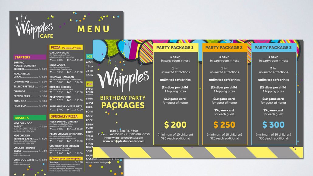 whipples family entertainment center marketing materials branding design: café menu and party packages printed materials