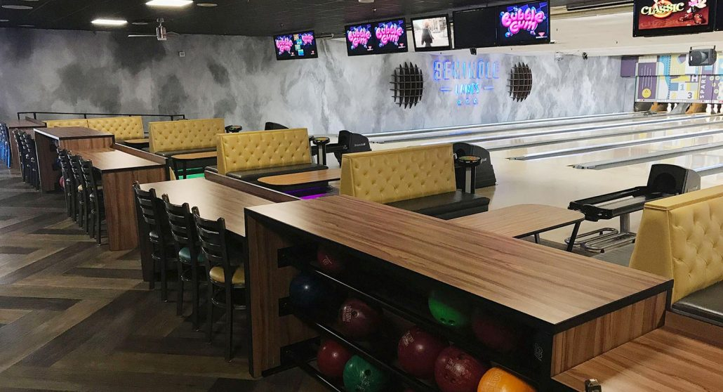 Seminole Lanes bowling center interior design