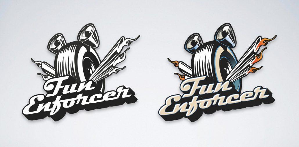 fun enforcer logo design for Rev'd Up Fun family entertainment center