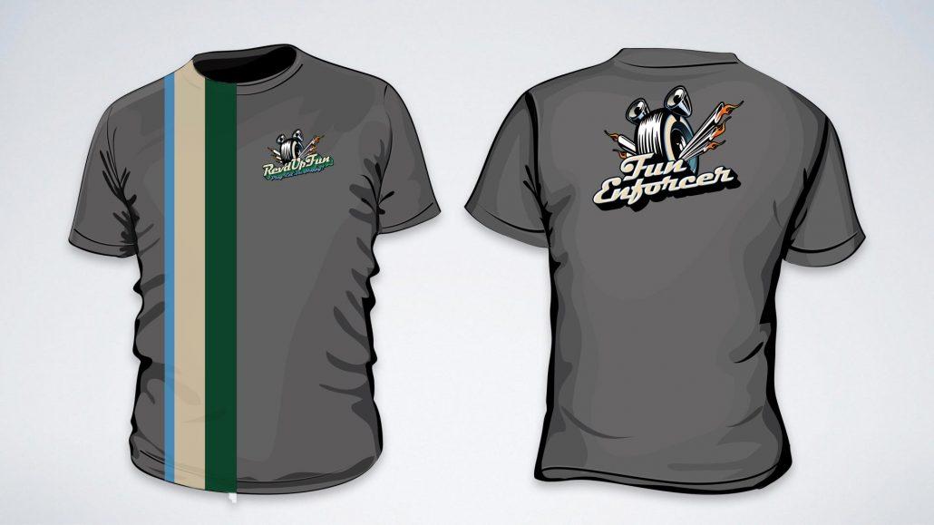 fun enforcer t shirt design for rev'd up fun family entertainment center