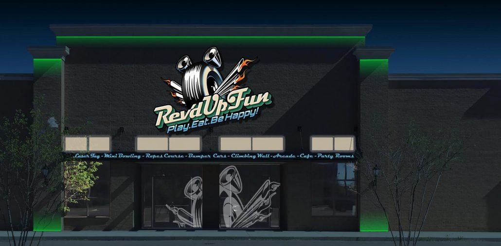 exterior branding design for rev'd up fun family entertainment center at night