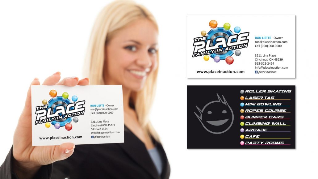 marketing materials for the place family entertainment center featuring business card design
