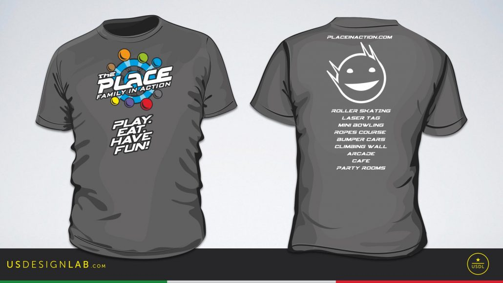 marketing materials for the place family entertainment center featuring t shirt design employee uniform design