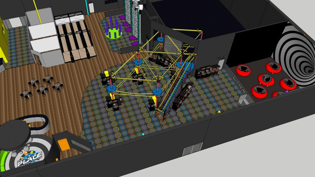 floor plan layout of The Place family entertainment center featuring ropes course