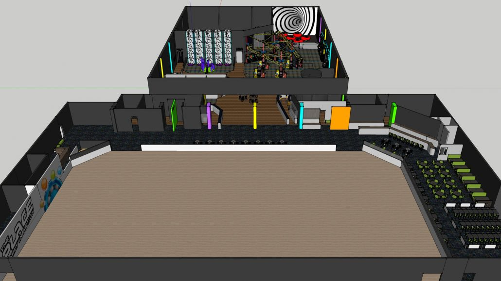 CAD floor plan layout of The Place family entertainment center