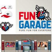 brand identity for family entertainment center fun garage branding