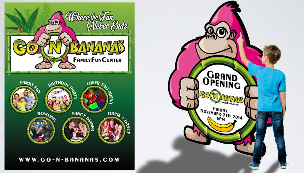 Go 'n Bananas family entertainment center branding marketing materials