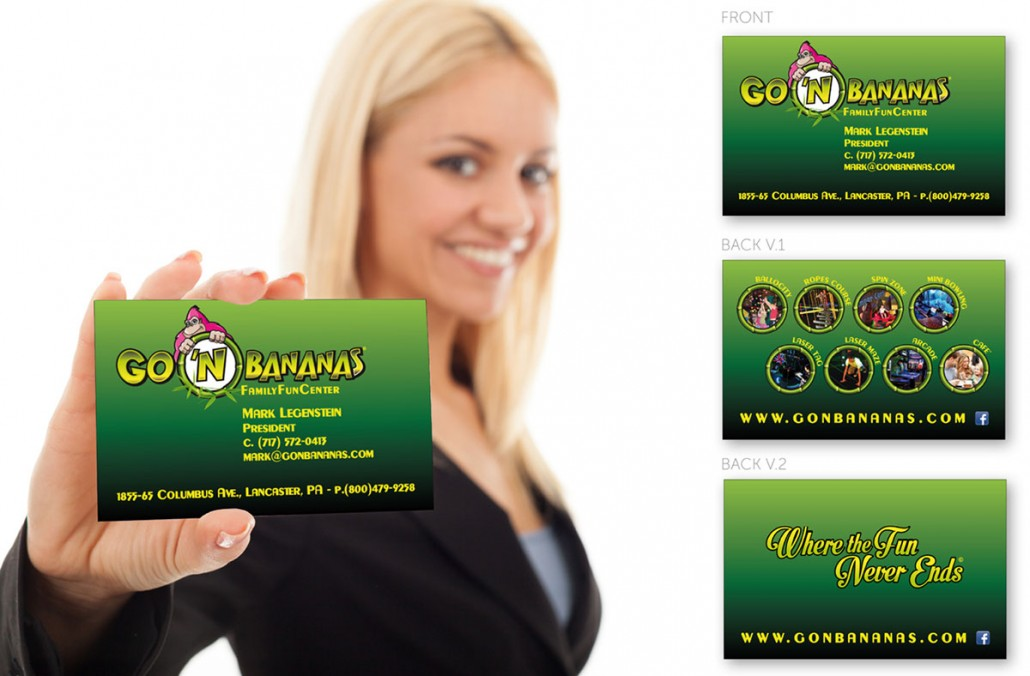 Go 'n Bananas family entertainment center branding marketing design business card