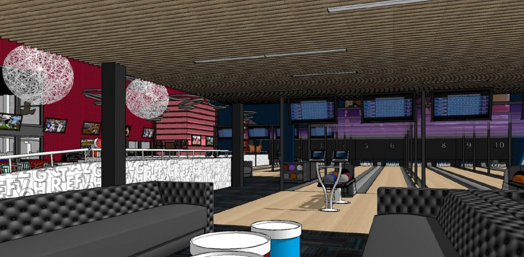 family entertainment center bowling alley design