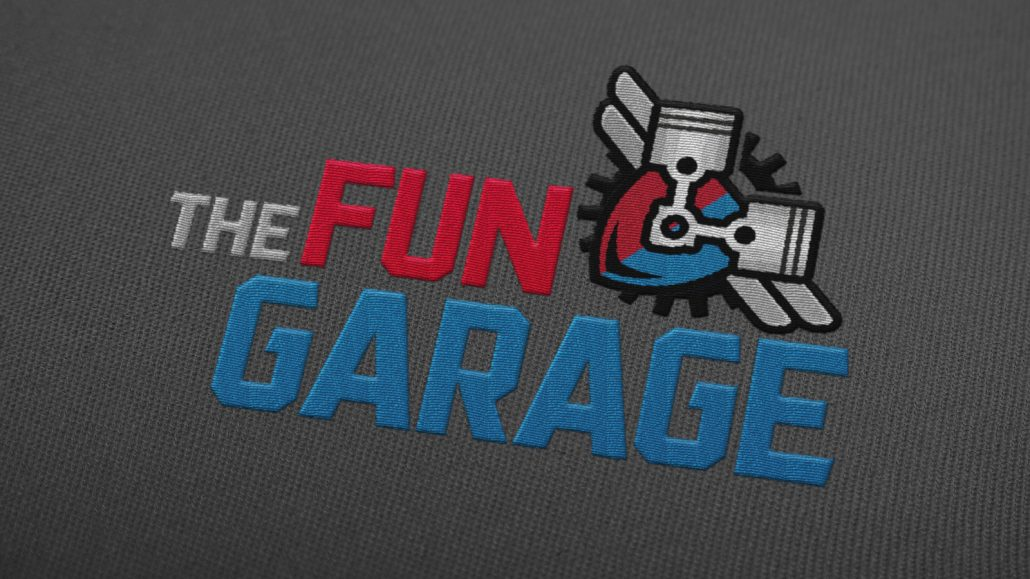 fun garage family entertainment center logo design and name branding
