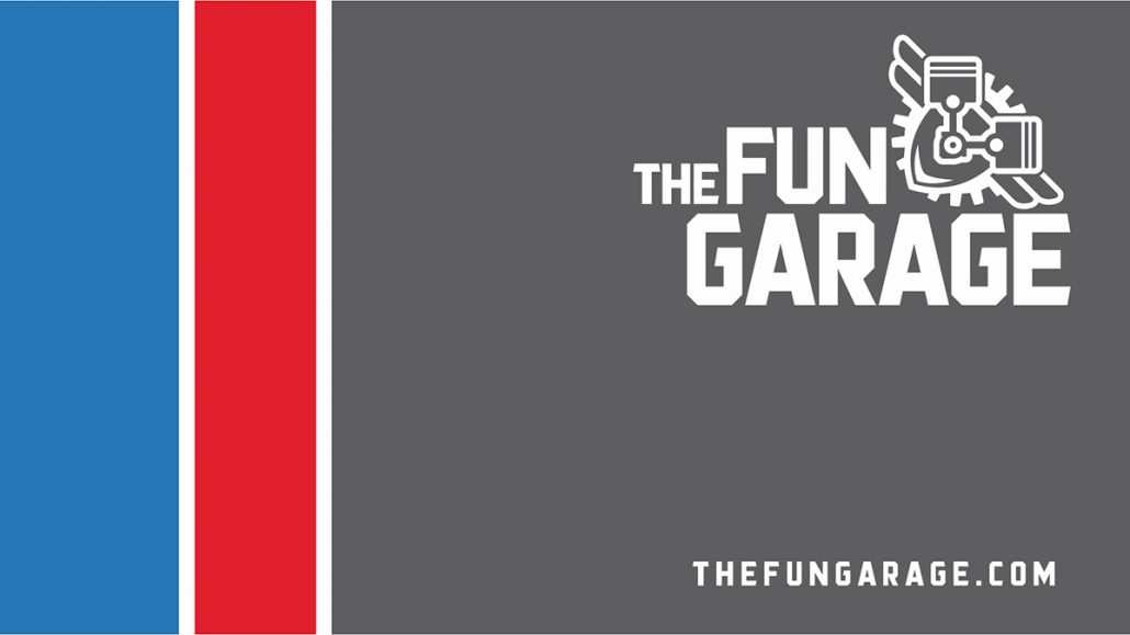 fun garage family entertainment center marketing logo design business card