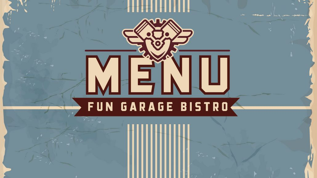 fun garage family entertainment center branding marketing design menu