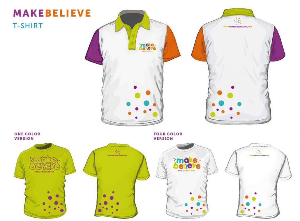 make believe family fun center branding: uniform design