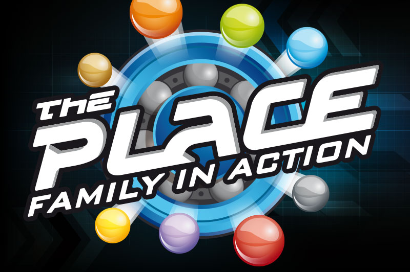 the play family entertainment center logo the place: family in action on black background